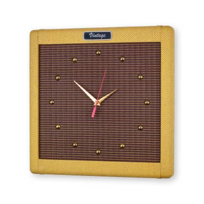 """15"""" Handcrafted Tweed Amp Wall Clock, Guitar Amp Clock by  DropLight Ind."""