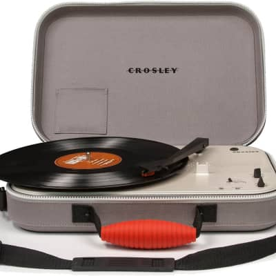 Crosley CR8016A-GY Messenger Portable Battery Powered 3-Speed Turntable (Gray)