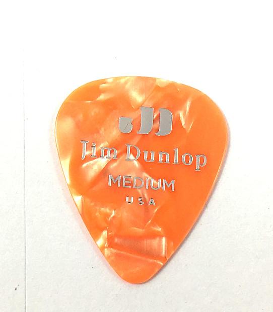 Dunlop Guitar Picks  12 Pack  Celluloid  Orange Pearloid  Medium .73mm