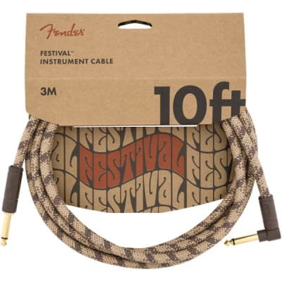 Fender Festival Instrument Cable, Angled/Straight, 3M/10FT, Pure Hemp, Brown for sale