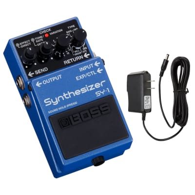 Boss SY-1 Guitar Synthesizer Pedal with PigHog PP9V Pig Power 9V DC 1000ma Power Supply
