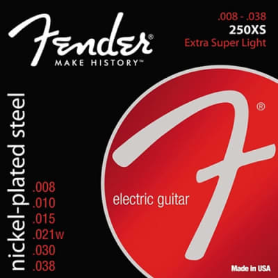 Fender 730250402 250XS Extra Super Light Super 250 Nickel-Plated Steel Electric Guitar Strings 08-38