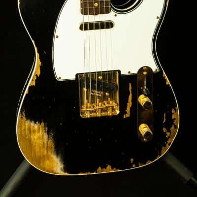 Fender Custom Shop 1960 Tele Custom Heavy Relic in Black with Gold Hardware for sale
