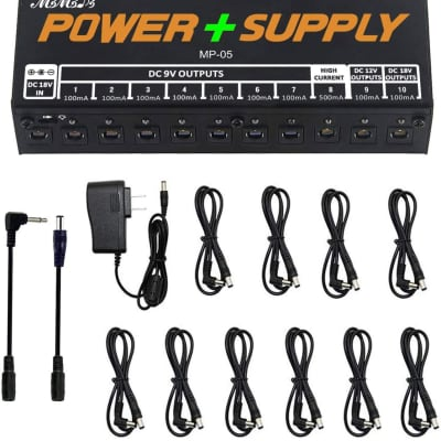 Guitar Pedal Power Supply Adapter Station, 10 Isolated DC Outputs for 9V/12V/18V Effect PedalBoard