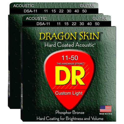 DR Strings Dragon Skin K3 Acoustic 11-50 2 Pack Bundle