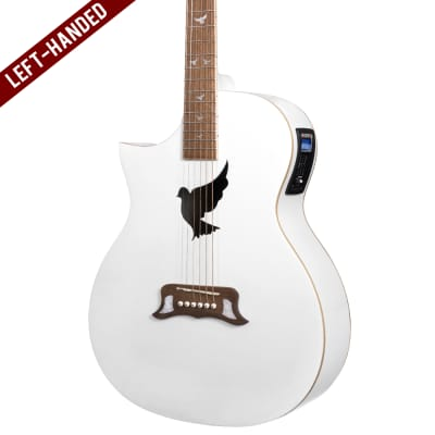 Lindo Left Handed White Dove V2 Electro Acoustic Guitar with Preamp / Tuner / EQ and Padded Gigbag