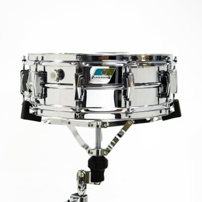 """Ludwig No. 400 Supraphonic 5x14"""" Aluminum Snare Drum with Pointed Blue/Olive Badge 1969 - 1979"""