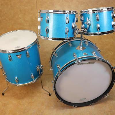 Vintage 1960's Ludwig Standard 4pc Blue Mist Drum Kit Set