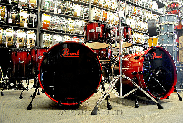 Pearl Reference Series Double Bass Drum Set Scarlet Fade With Black Hardware