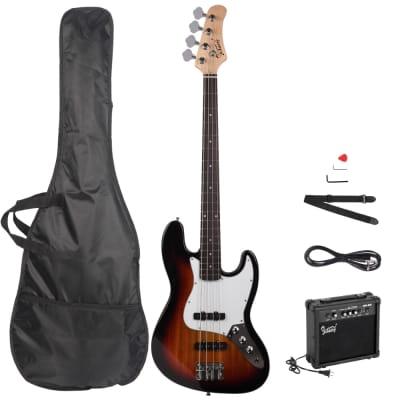 Glarry GJazz Electric Bass Guitar w/ 20W Electric Bass Amplifier Sunset for sale