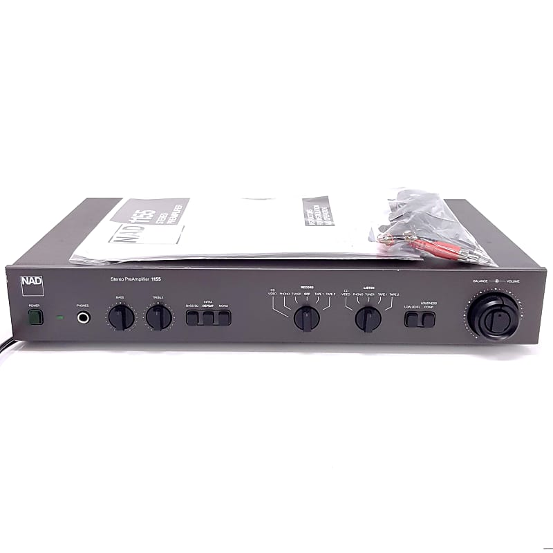 NAD 1155 Stereo PreAmplifier Audiophile High Output, Working + Cables +  Manual