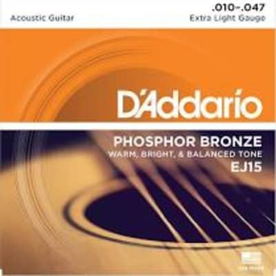 D'Addario EJ15 Phosphor Bronze Acoustic Guitar Strings, Extra Light, .10-.47