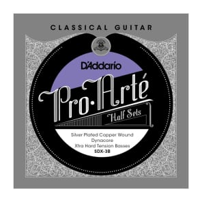 D'Addario SDX-3B Pro-Arte Silver Plated Copper on Composite Dynacore Classical Guitar Half Set Extra Hard Tension