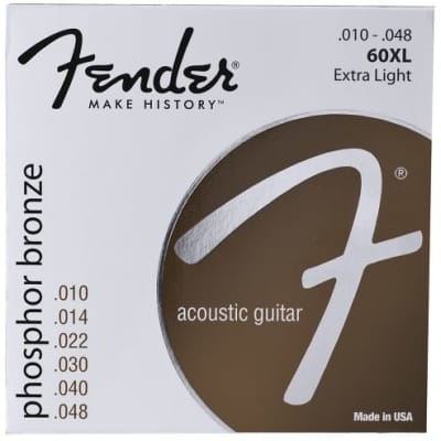Fender 60XL Extra Light Acoustic Guitar Strings, Ball End, .010-.048