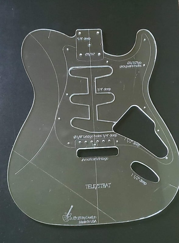 Custom Hybrid Guitar Pickguard Template For Strat+Tele bridge Pickup Acrylic