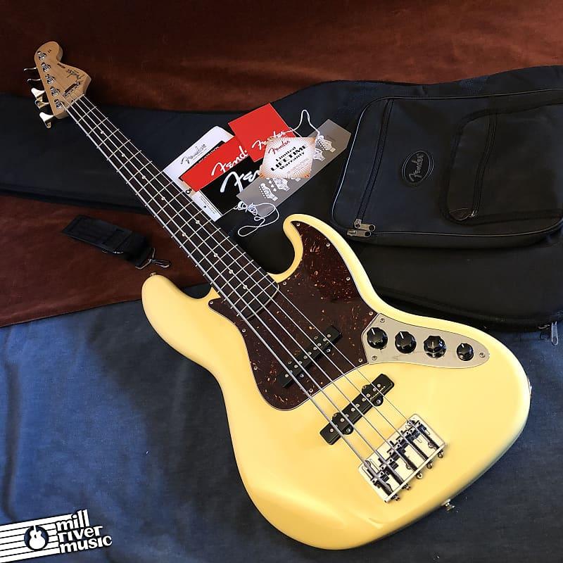 Fender Deluxe Active Jazz Bass V 5-String MIM Vintage White 2014 w/ Gig Bag Mexico