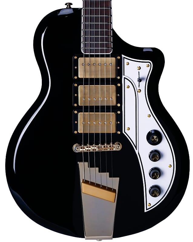 Supro 1275JB Tri Tone Electric Guitar Jet Black w/ Brushed Gold Hardware