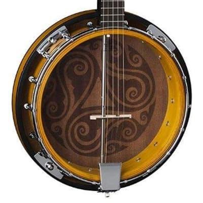 Luna Model BGB CEL 5 5-String Acoustic Celtic Banjo with Transparent Head for sale