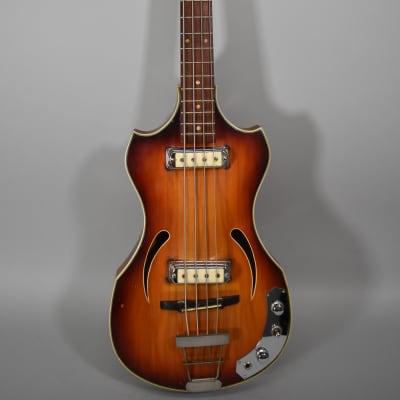 Circa 1960's Klira Twen Star 162 2/3 Bass Sunburst Vintage Electric Guitar w/Bag for sale