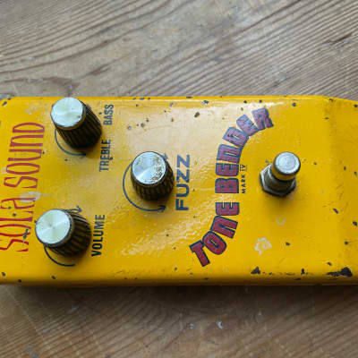 Original vintage very rare 1960s Sola Sound Tonebender MkIV yellow colorsound fuzz guitar pedal for sale