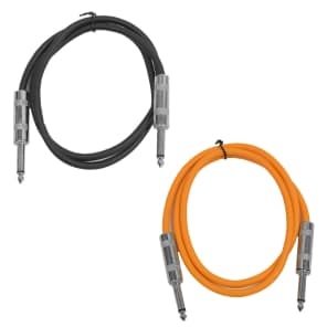 "Seismic Audio SASTSX-3-BLACKORANGE 1/4"" TS Male to 1/4"" TS Male Patch Cables - 3' (2-Pack)"