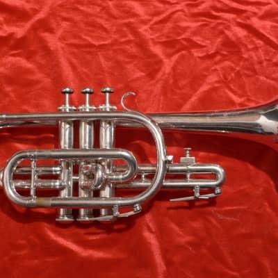 Vintage 1964 Besson 2-20 Silver Cornet w/ #5 Besson, Original Case, Made In England & a Bach 6C