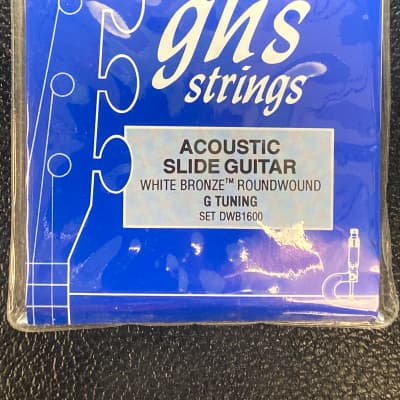 "GHS Acoustic Slide Guitar White Bronze  ""G Tuning"" DWB1600 Resophonic Strings"
