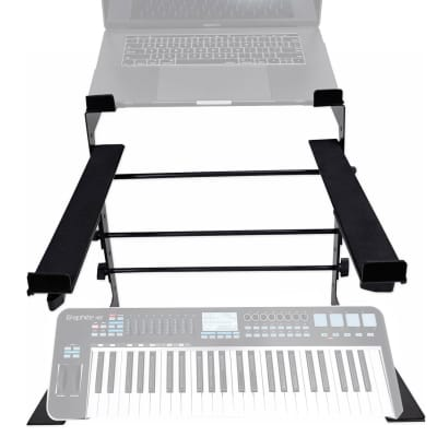 Rockville Dual Shelf Laptop+Controller Stand for Samson Graphite 49 Keyboard