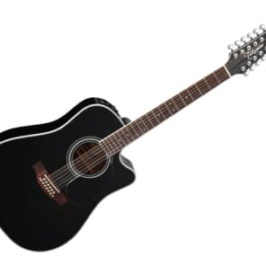 Takamine Pro Series Dreadnought Acoustic Guitar w/ Hardshell Case - Black/Rosewood - EF381SC for sale