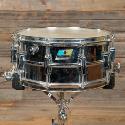"Ludwig No. 411 Super-Sensitive 6.5x14"" Aluminum Snare Drum with Pointed Blue/Olive Badge 1969 - 1979"