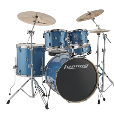 "Ludwig Evolution 5pc Drumkit w/22"" BD, Hardware and Zildjian ZBT Cymbals- Blue Sparkle"