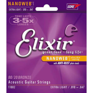 Elixir 11002 Nanoweb 80/20 Bronze Acoustic Guitar Strings - Extra Light (10-47)