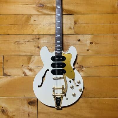 Epiphone Ltd Ed. Riviera P93 White Royal Gold Electric Hollowbody Guitar w/ Case for sale