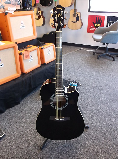 Ibanez V70ce Acoustic Electric Guitar With Gigbag Black Reverb