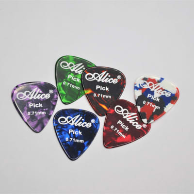 6Pcs Alice Guitar Picks Celluloid Pearl Thickness Size MEDIUM 0.71mm