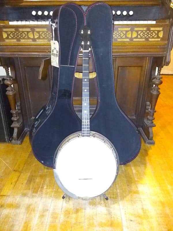 Vintage 1940's (late) Kay-Kraft 19 Fret Tenor Banjo + Resonator + Case  (with Gotoh geared tuners)