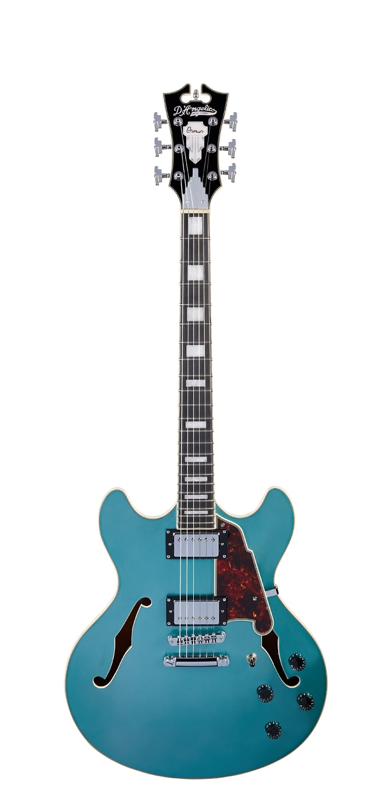 D'Angelico Premier DC Double-Cutaway Semi-Hollow Body in Ocean Turquoise w/ Gig Bag