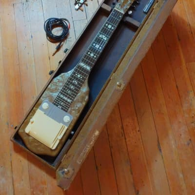 Supro Brown Pearloid Electric Lap Steel 1953 w/Original Case + Tuners #X28511 for sale