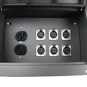 Elite Core Audio FBL6+AC Recessed Floor Box with 6 XLR Female Connectors and Duplex AC Black Box Outlet