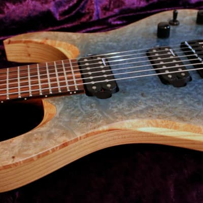 RAN: Crusher 7FT: Maple Burl Over Swamp Ash Body, Macassar Ebony Fretboard. Available Now! for sale
