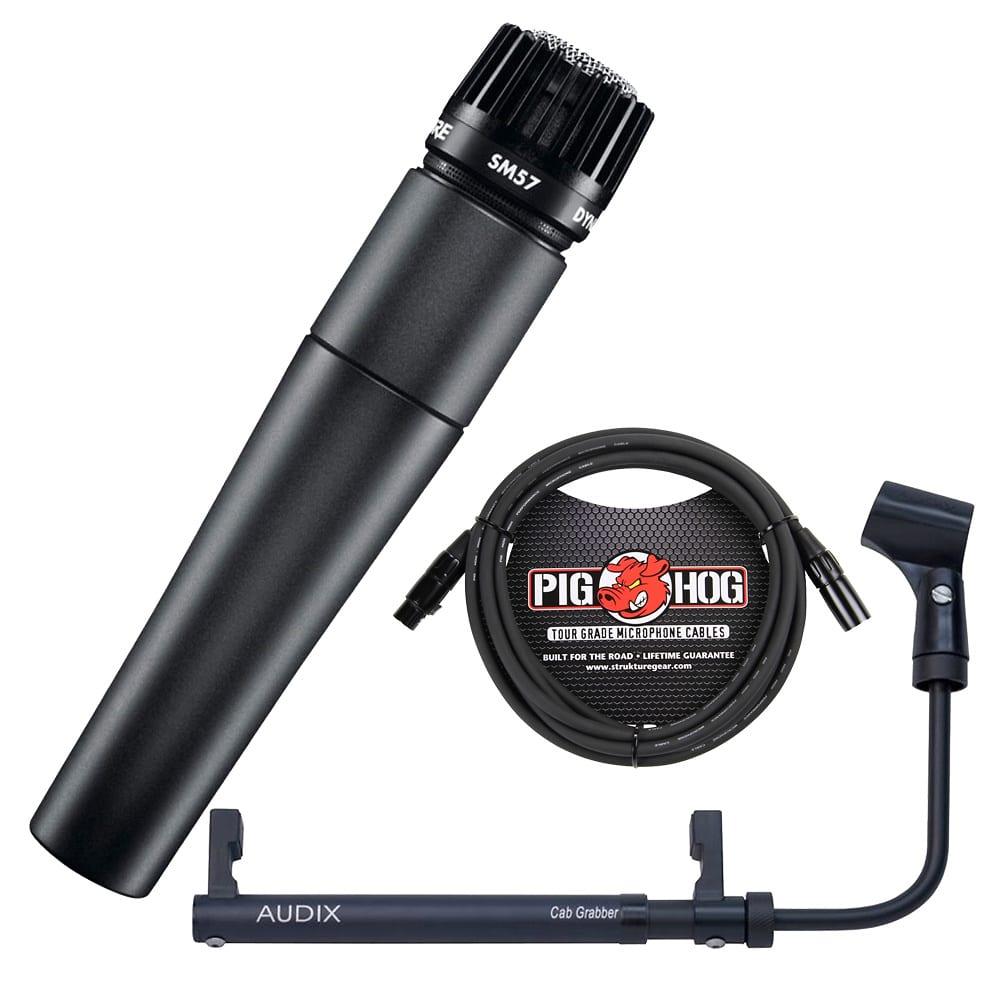 shure sm 57 microphone with cabgrabber amp microphone holder reverb. Black Bedroom Furniture Sets. Home Design Ideas