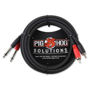 """Pig Hog PD-R1410 Dual 1/4"""" TS Male to Dual RCA Male Cable - 10'"""