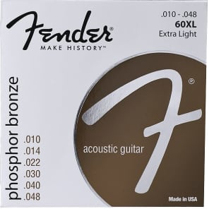 Fender Phosphor Bronze Acoustic Guitar Strings, Ball End, 60XL .010-.048 Gauges, (6) 2016