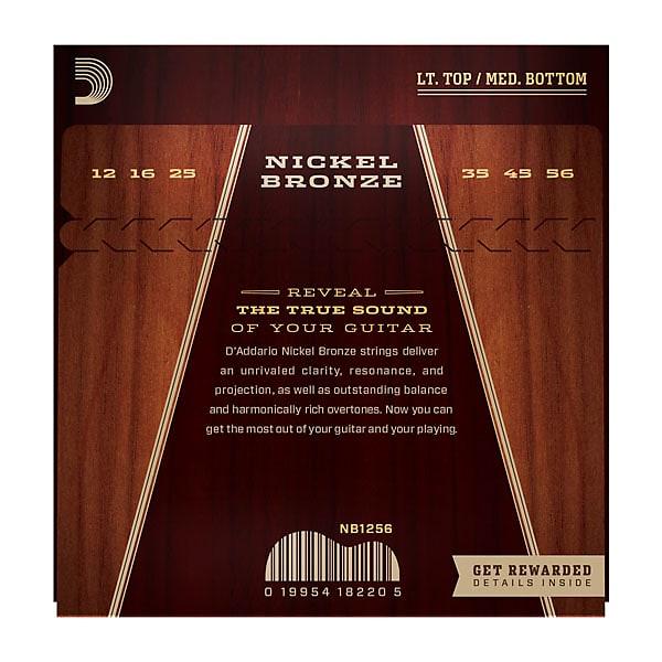 D'Addario NB1256 Nickel Bronze Acoustic Guitar Strings Lt Top/Med Bottom 12-56