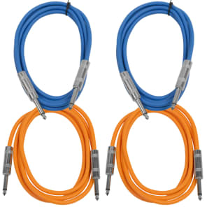 "Seismic Audio SASTSX-6-2BLUE2ORANGE 1/4"" TS Male to 1/4"" TS Male Patch Cables - 6' (4-Pack)"