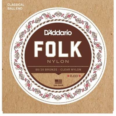 D'Addario EJ33 Folk Nylon Guitar Strings, 80/20 Bronze/Clear Nylon Trebles