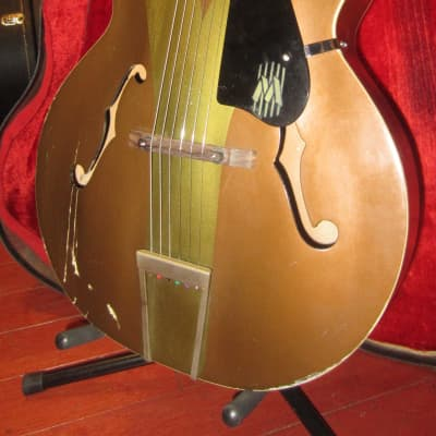 Vintage 1960's Harmony Colorama Arch Top Acoustic Guitar w/ Original Case for sale