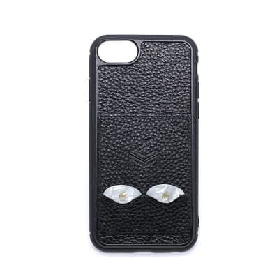 """""""The Pick Solution"""" iPhone SE ,6,7,8, Leather  Case With Guitar  Pick Storage Slots - Black"""