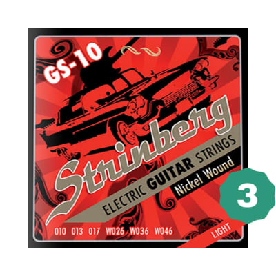 New Strinberg GS-10 Light Nickel Wound Electric Guitar Strings (3-PACK)