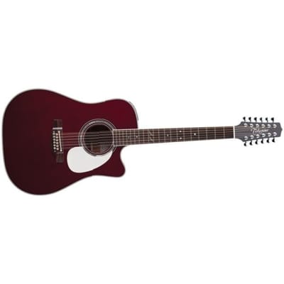 Takamine JJ325SRC12 John Jorgenson 12-String Dreadnought Electro Acoustic, Gloss Red Stain for sale